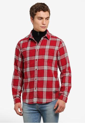 ESPRIT red Woven Long Sleeve Shirt ES374AA0RVDLMY_1