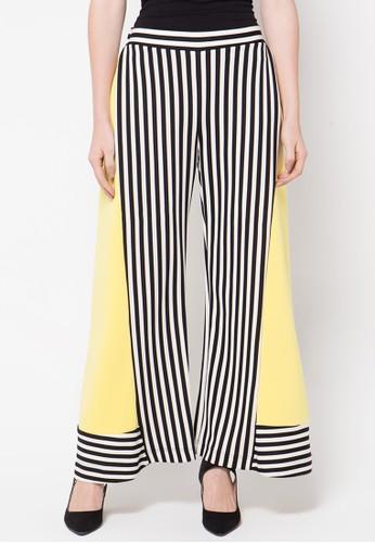 2Madison Avenue Apparel Geo Culottes Pants Stripe Yellow