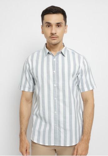Osella white Osella Baju Laki Laki Shirt Short Sleeve Stripe White BCD8EAA8BDF045GS_1