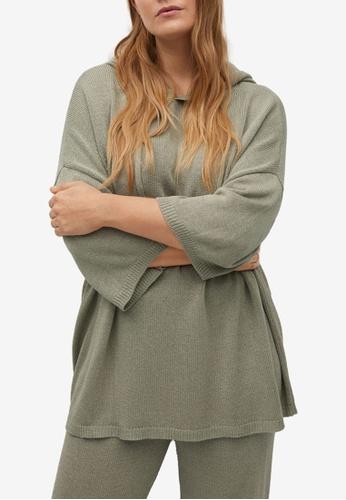 Violeta by MANGO green Plus Size Oversized Hooded Sweater E7C5EAA93878D0GS_1