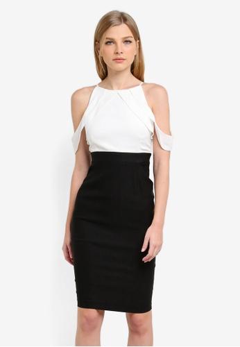 Vesper black and white Perdie Monochrome Contrast Pencil Dress VE733AA0S78BMY_1