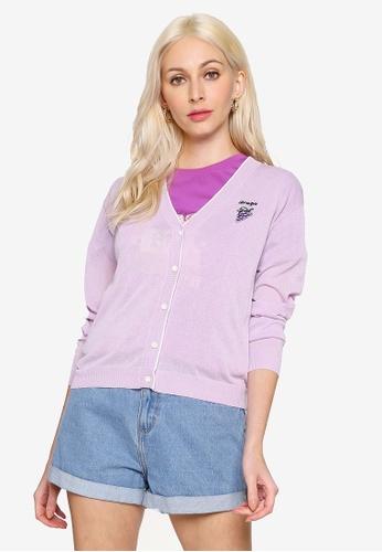 Hopeshow purple Fruit Embroidered Long Sleeve Button Cardigan 83760AA70B0E1EGS_1