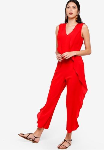 ZALORA red Ruffle Sleeveless Maxi Jumpsuit EDF86AA6F0A4CAGS_1