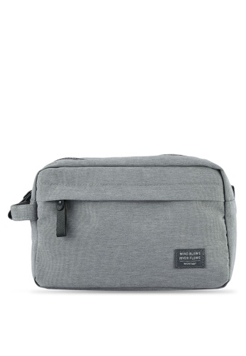 Bagstationz grey Lightweight Water-Resistant Travel Toiletries Pouch BA607AC0S0FYMY_1
