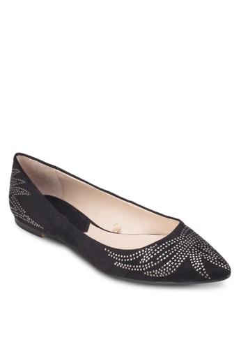 鉚釘圖案尖頭平底鞋, 女鞋, 芭蕾zalora 內衣平底鞋