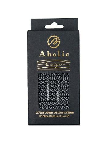 Aholic 黑色 3M反光圓鞋帶 - 黑蛇紋 AH662SH09XERTW_1