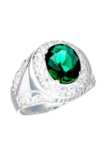 Elfi green and silver Elfi 925 Genuine Silver Engagement Ring R21 - Green Emerald EL186AC21JKSMY_1