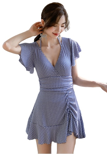 A-IN GIRLS blue Retro Checkered One-Piece Swimsuit 0AB62USBB8F050GS_1