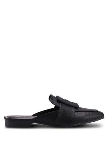 Something Borrowed black Slip On Flats With Buckle Detail 58460SHF4025BBGS_1