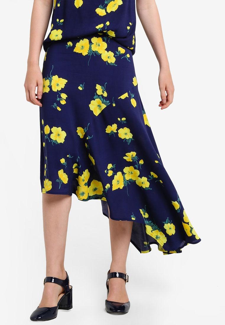 WAREHOUSE Pattern Blue Skirt Flower Delia Asymmetric OHqwrOz