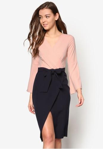 裹飾V 領腰帶撞色長袖連身esprit taiwan裙, 服飾, 貼身誘惑