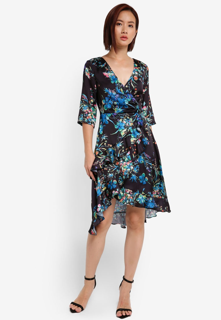 Sleeve 4 ZALORA Black 3 Vibrant Floral Wrap Asymmetrical Dress Ug5x6