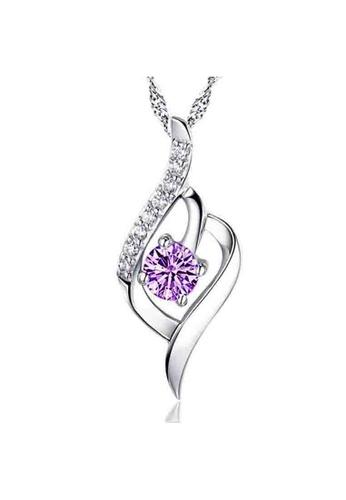 YOUNIQ silver YOUNIQ Weave 925 Sterling Silver Necklace Pendant with Purple Cubic Zirconia YO999AC17DDIMY_1