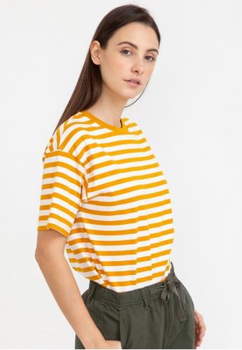Bossini yellow Loose Fit Striped Tee 62359AA6D655F1GS_1