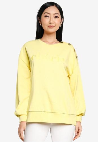 JACQUELINE DE YONG yellow Louisiana Long Sleeves Button Embroidery Sweatshirt 90B8AAA5CC80BCGS_1