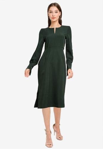ZALORA WORK green Notch Neck Long Sleeve Dress B56C6AA556A0A3GS_1