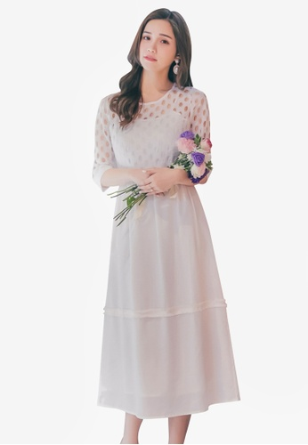 YOCO white Circle Laced Dress F7302AA0AA7E4FGS_1