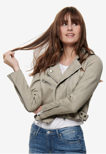 ONLY grey Sherry Crop Bonded Biker Jacket 1FACFAAE8BFAB3GS_1