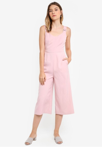 Something Borrowed pink Hardwear Detail Culotte Jumpsuit 134B8AAB2384EDGS_1