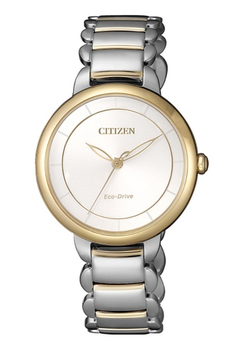 Citizen silver Citizen Eco-Drive EM0674-81A Gold Tone and Silver Stainless Steel Watch B8C0CACE1CC72EGS_1