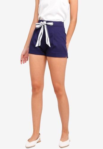 ZALORA navy Tie Front Shorts 1C42EAABB44CA0GS_1