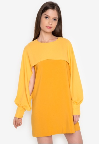 Chloe Edit yellow Round Neck Sheer Dress CH672AA0J9CDPH_1