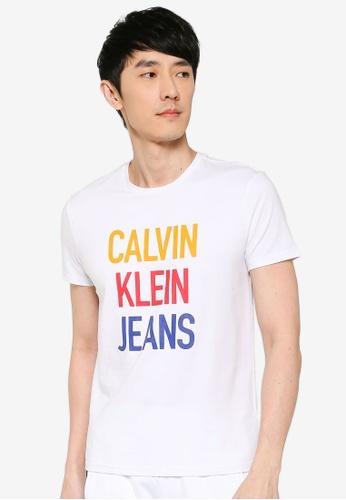 Calvin Klein 白色 短袖Fashion LOGO修身T恤 - Calvin Klein 牛仔褲 09AD0AA37C5599GS_1