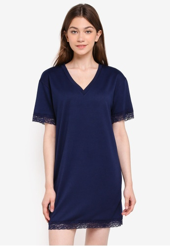 Something Borrowed navy V-Neck Tee Dress With Lace Hem BD29BAADD8C070GS_1