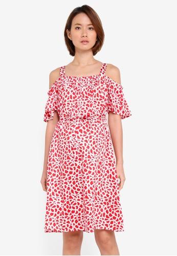 JoJo Maman Bébé red Maternity Geo Off Shoulder Dress 5109EAA2360568GS_1