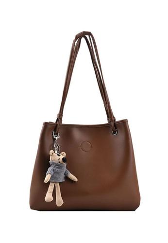 Lara brown Women's Plain Teddy Bear Charm Soft PU Leather Tote Bag - Light Brown BC3C1ACA192E40GS_1