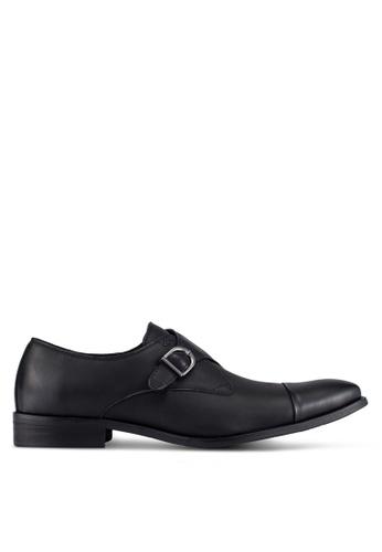 ZALORA black Faux Leather Single Monk Strap Dress Shoes 9EDC2AA0651B57GS_1