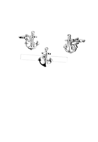 Glamorousky silver Fashion Classic Anchor Tie Clip and Cufflinks Set D715EACB9F1925GS_1
