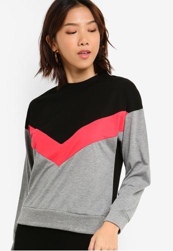 Something Borrowed 黑色 and 粉紅色 撞色針織T恤 1DCFBAABC29B0CGS_1