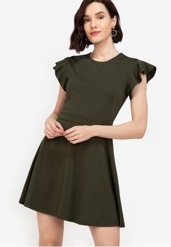 ZALORA WORK green Flare Sleeves Fit & Flare Dress DFBFCAA6B1702BGS_1