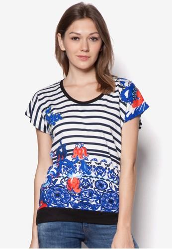 條紋esprit hk store印花棉TEE, 服飾, T恤