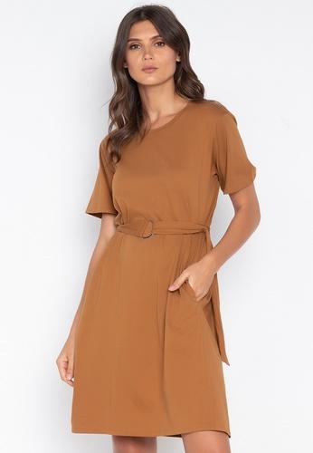 MEMO brown Knee-Length T-Shirt Dress With Pocket Detail 70627AAE6FE366GS_1