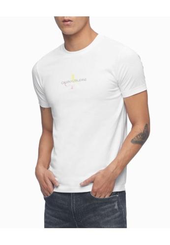 Calvin Klein 白色 Calvin Klein CK Men CK Men Rainbow Monogram 合身上衣 AD736AA1F41659GS_1