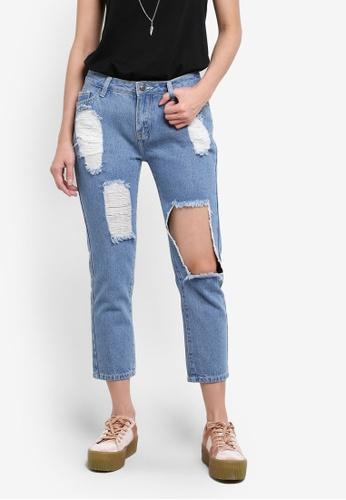 Something Borrowed blue Extreme Rip Boyfriend Jeans DC54AZZD1844B8GS_1