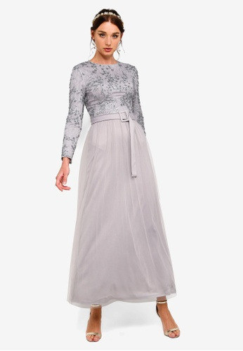 59e323612756 Zalia grey and blue Crusted Floral Sequin Fit And Flare Dress  272A4AAB7DF32DGS_1