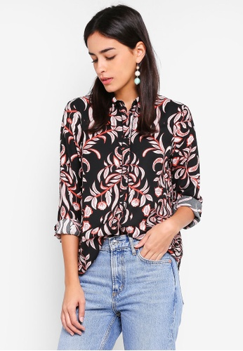 Vero Moda black and multi Gyana Long Sleeve Shirt EFDFFAA40D2CEAGS_1