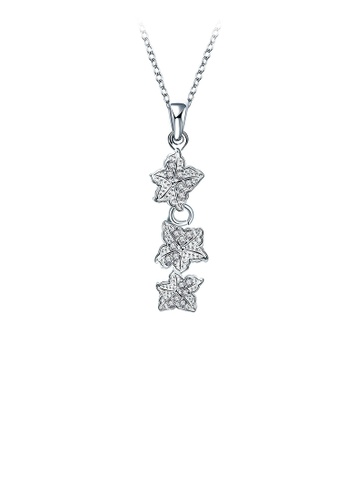 Glamorousky white Elegant Flower Pendant with Austrian Element Crystal and Necklace 4602EACF6E0902GS_1