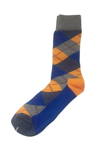 Splice Cufflinks Plaids Series Grey, Orange and Blue Socks SP744AA44PAHSG_1