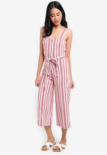 Miss Selfridge red Striped Bengaline Jumpsuit B28C3AA6D0BEFBGS_1