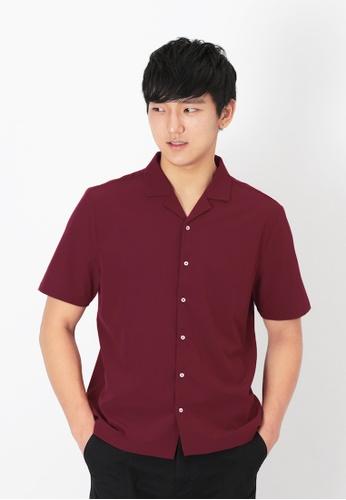 A for Arcade red Freddie Camp Collar Shirt in Wine 6A4EFAA9A5CF1BGS_1
