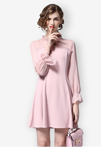 Sunnydaysweety pink S/S Pink Chiffon One Piece Dress CA031409-0 465C3AA8414DA0GS_1