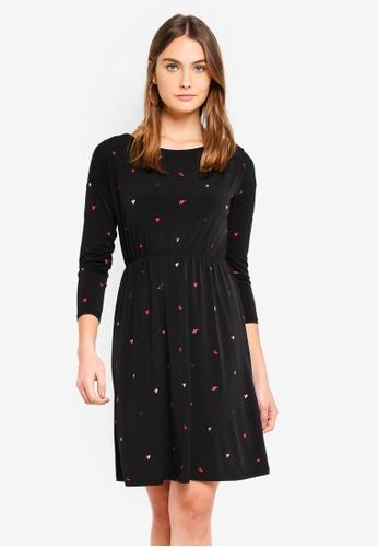 WAREHOUSE 黑色 Scattered Heart Print Dress BCCA1AA3A226EBGS_1
