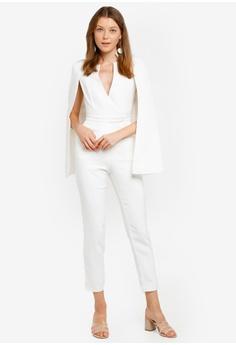 77f948395433 Lavish Alice white Notched Collar Cape Jumpsuit 53D36AA253F0DFGS 1
