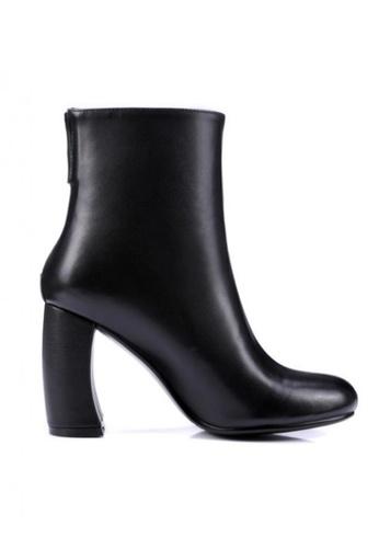 Sunnydaysweety 黑色 新款簡約真皮高跟靴 RA092716BK SU395SH09Y1DTW_1