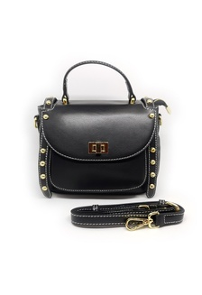 6dd9381b5177 Leather Small Buckle Studded Crossbody Sling Bag Black 8A6C0AC51CB061GS 1