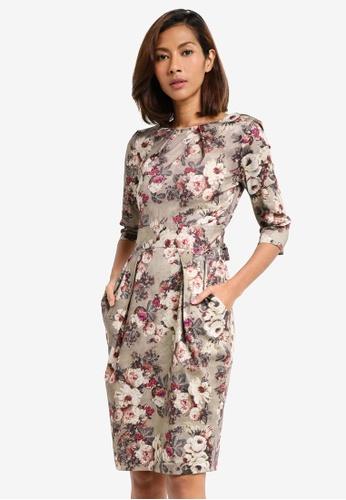 CLOSET brown 3/4 Sleeve Tie Dress 39ECFAAD27747CGS_1